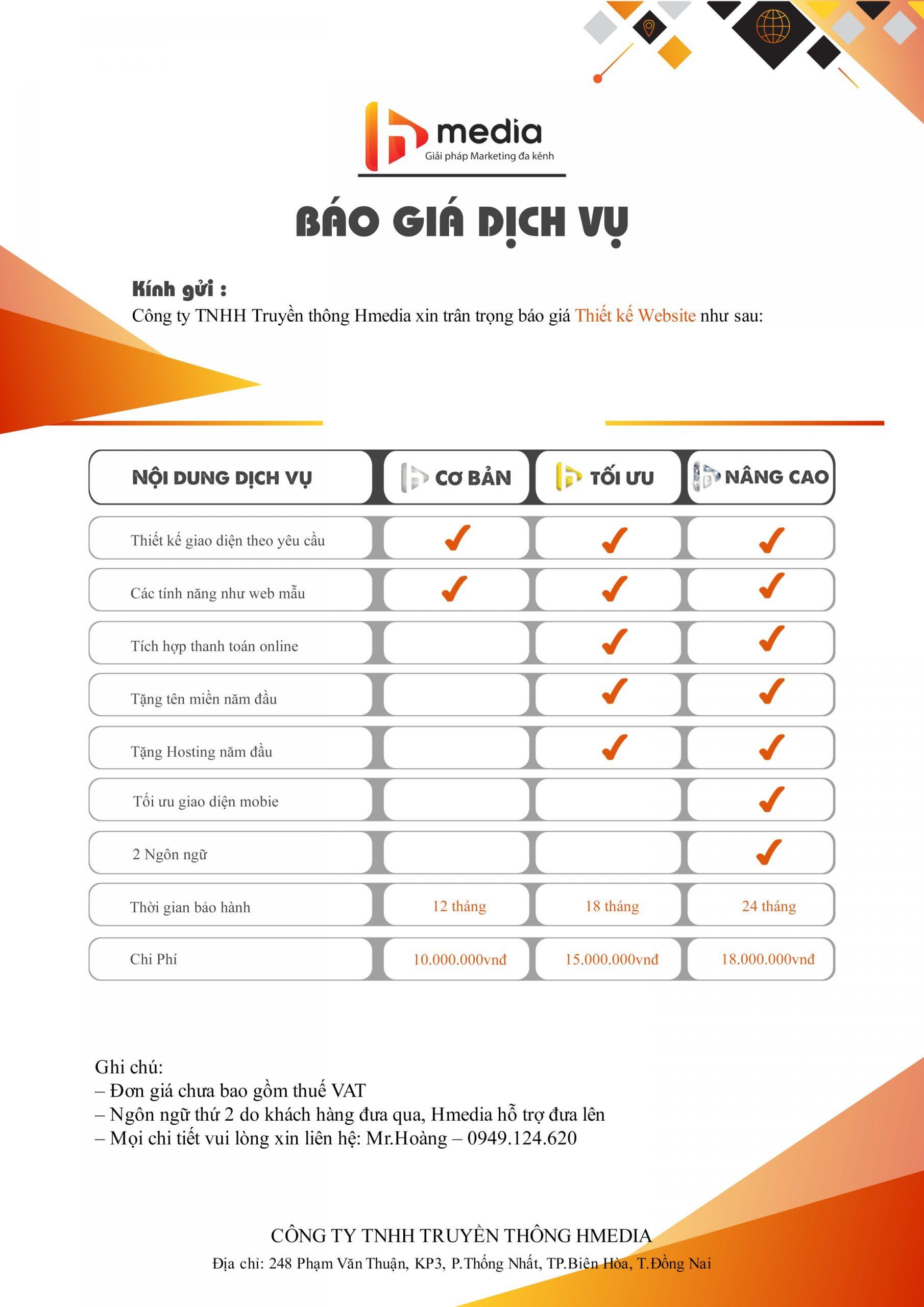 Báo giá thiết kế website Hmedia